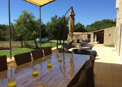 Vue sur la terrasse avec sa table pour 10 personnes et la piscine au fond.